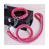 E-KIA Starke Hundeleine,Nylon 1.3m Hundeleine, Langlebig, Walking Kann die Sicherheit Von Hunden GewäHrleisten,pink,S