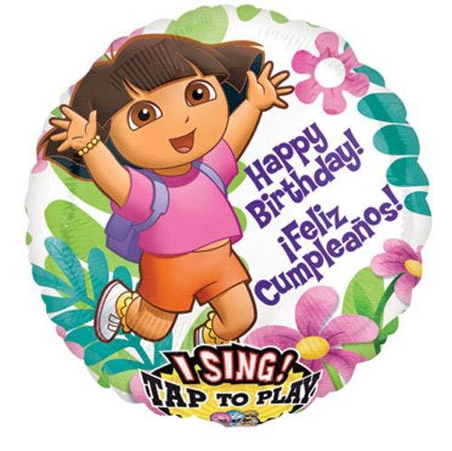 Anagram Folienballon 2170801Dora Geburtstag/Cumpleanos sing-a-tune, 71,1cm farbenreiche