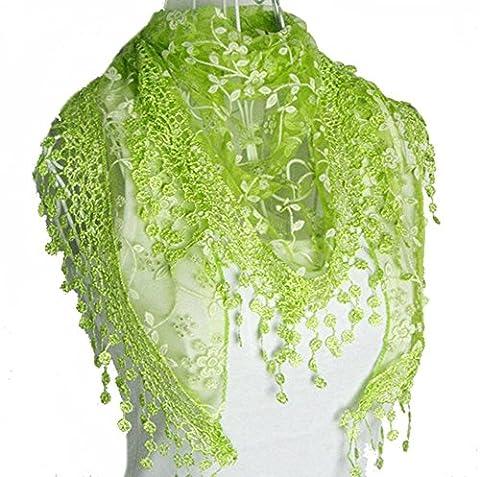 Fletion Femmes Ladies Lace Tassel Sheer Burnout Floral Imprimer Triangle Scarf Shawl Neck Wraps Printemps Automne Hiver charpes