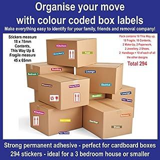 294Aufkleber, um helfen, Organisieren beweglichen Zuhause (für ein Haus 3Schlafzimmer oder kleiner)–Farbe Code ID Aufkleber/Etiketten für Kartons