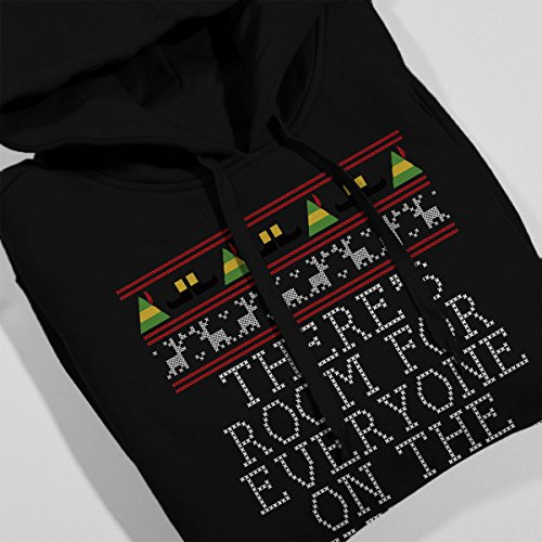 Nice List Elf Quote Christmas Knit Women's Hooded Sweatshirt Black