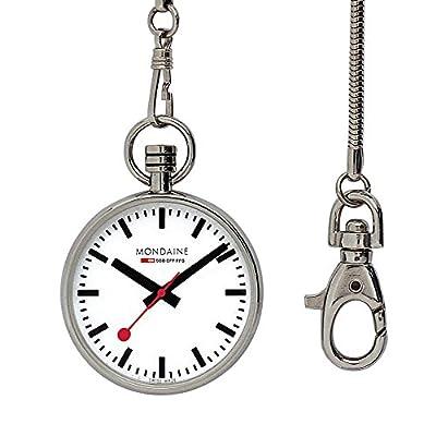 Mondaine Pocket- Reloj de bolsillo, movimiento de cuarzo Ronda 313, acero inoxidable de Mondaine