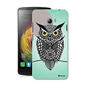 Customizable Hamee Original Designer Cover Thin Fit Crystal Clear Plastic Hard Back Case for Lenovo K4 Note / Lenovo Vibe K4 Note (Owl / Black x Green)