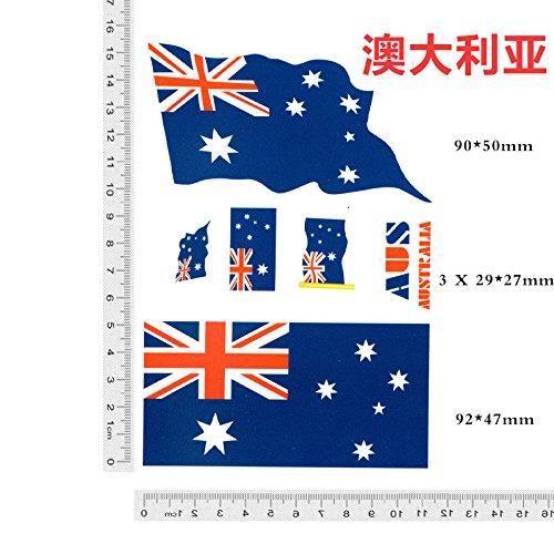 �ball-WM 2018 Fans der Lieferungen von Kleinwaffen - der Anti- China National Flaggen Aufkleber auf seinem Gesicht ein Dummy,02 Australien X 1 Blatt aufgebracht (Halloween Amerika Australien)