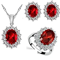Queen royal ocean jewelry set stud with crystal Ring size 8