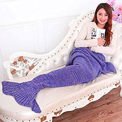 Yarn Knitted Mermaid Tail Blanket Handmade Crochet Mermaid Blanket for Adult and Kids Throw Bed Wrap Super Soft Sleeping Bag - cheap UK light shop.