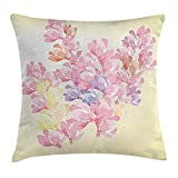 tgyew Floral Throw Pillow Cushion Cover, Spring Bouquet Botanical Buds Petals Nature Essence Fragrance Retro Picture, Decorative Square Accent Pillow Case, 18 X18 Inches, Baby Pink Light Yellow