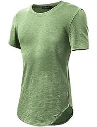 HEMOON Homme Hipster T-shirt Garniture decore sur cote Manches courtes