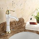 Wasserfall-Küchen-Hahn-Badezimmer-Hahn Heißer und kalter Hahn-Fluss-Art-Badezimmer-Perlen-weißer Porzellan-Hahn, Badezimmer-Waschbecken-Gewindebohrer