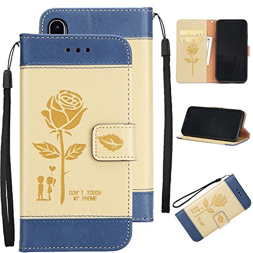 Gemischte Farben Rose Blume matt Premium PU Leder Brieftasche Stand Case Cover mit Lanyard & Card Slots für iPhone X ( Color : Brown ) Gold