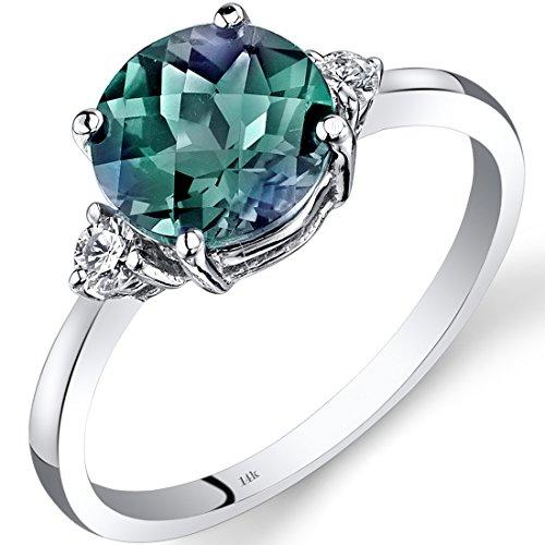 Revoni 14ct White Gold Created Alexandrite Diamond Ring 2.25 Carat Round Cut