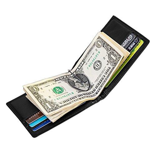 MPTECK @ Schwarz Geldklammer Geldbörse Brieftasche Tasche PU Leder mit RFID Schutz Blocker Kleines Portemonnaie mit Dollarclip Money-Clip Geldschein-Klammer Geldspange Geldbeutel Geld-Clip für Männer Herren