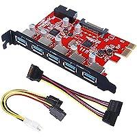 [5 ports+ 20pin] Inateck PCI Carte USB 3.0 5 Ports USB 3.0 connecteur à 20 broches avec connecteur 15 broches Sata, un 4 broches 2x15pin câble, une Y-câble prise SATA