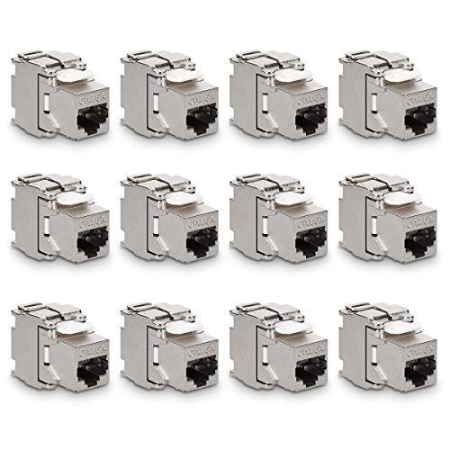 kwmobile 12x Keystone Modul für CAT 6A Kabel - 10 Gbit/s geschirmt Metall Gehäuse Schnappverschluss - werkzeugfreier Anschluss an Modular Patchpanel - Stecker Keystone Jack