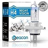 Beacon H4 NightVision Faros Bombillas - una clara visibilidad en la niebla, la lluvia, la nieve y las carreteras mojadas – Cabe en cualquier vehículo con toma de lámpara H4 P43t (12V 60/55W) para Luces largas y luces de cruce, incluyendo el permiso de vialidad y su doble Caja ecológica