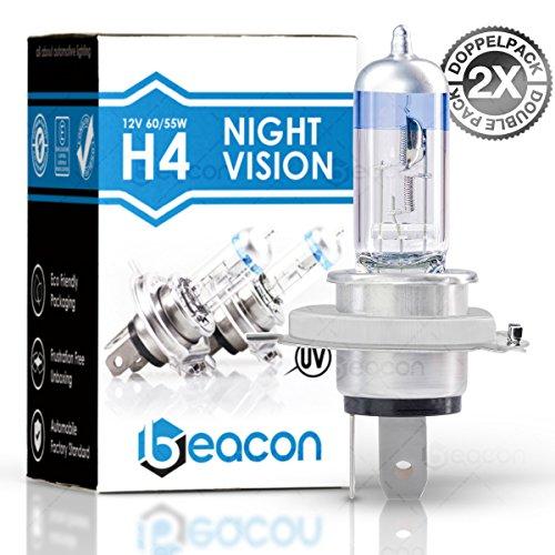 Preisvergleich Produktbild Beacon H4 Night Vision Scheinwerferlampe - Höchste Sicherheit bei Nebel, Regen, Schnee und nasser Fahrbahn - Passt in alle PKW mit H4 Lampen P43t Sockel (12V 60/55W) für Abblendlicht und Fernlicht inkl. Straßenzulassung im eco-freundlichen Doppelpack (2 Stück H4 Glühbirnen)