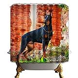 GAOFENFFR Rotes braunes Steingrün mit grünem Gras und 1 süßer schwarzer, gelber Hundehalsband Keine chemikalienbeständigen antibakteriellen Duschvorhänge
