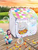SUGAR Q® Breathable™ Extra Large Portable Folding Pop-Up Green/Blue/Orange/Yellow/Pink Magic Stars Play Tent Playhouse Play Hut Ball Pit Ball Pool Toy, Ideal for Kids Girls/Boys Birthday Gift Party Indoor/Outdoor Non-Toxic/Odor-Free