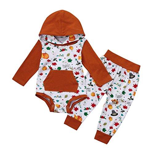 Thanksgiving Bodysuit Anzug Outfits Babyanzug Bekleidungssets Kleikind Festliche Anzug mit Langarmshirts Bodys + Hosen für 0-24 Monate (White, 70CM 6Monate) (Neugeborenen Thanksgiving Outfit)