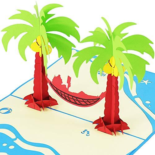 ☘ XXL 3D-Pop-Up-Karte mit Palmen & Hängematte z.B. als Reise-Gutschein, Wellness-Urlaub, Verpackung für Geldgeschenke o. Urlaubsgeld, Erlebnis-Gutschein für Kurzurlaub, Urlaubskarte