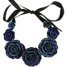 VANKER Rosas Flores collar colgante de Vintage joyería de las mujeres resina cristalina -- Azul