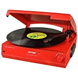 AMOS USB Turntable 3 Speed Vinyl Record Retro LP Player Recorder Vinyl to MP3 Digital Converter with Stereo Speakers & RCA Output + Audacity Software (Red)