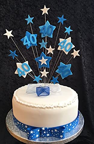 40th Birthday Cake Topper Blues And White Stars PLUS 1 x Metre 25mm Blue With White Stars Grosgrain Ribbon With Ready Made Attached Bow