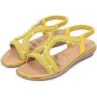 Sandalias Planas Mujer Verano,Bohemian Rhinestones Amarillo Suave Elástica Confort Sandalias Boho Moda Calzado De Playa De Gran Tamaño Slip En Vacaciones De Verano Casual Walking Shoes,Imagen,37