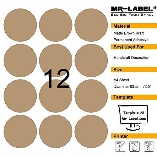 Mr-Label blank brown Kraft etichette - 63,5 millimetri (diametro) - per il laser e getto d'inchiostro - A4 fogli (10 lenzuola)
