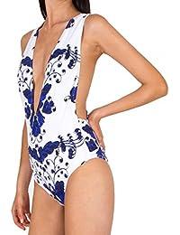 Aguaclara maillot de bain 1 piece blanc imprimé bleu - Couleur - Blanc, Taille Maillot - 38