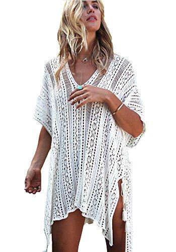 Mango Tree Damen Strandkleid Kurze Kleid Badeanzug Bikini Spitze Crochet Cover Up (Weiß, Freie Größe)