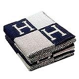 Modische Wolldecke, Komfortable H-pattern Wolle Cashmere Plaid Decke Weiche Warme Decke Bettlaken für Sofa Auto Reise 130 * 180 cm navy blau H