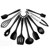 Juego de 10 utensilios de cocina de silicona, resistentes al calor y antiadherentes, utensilios de cocina, cuchara sopera, espátula, batidor y utensilios de cocina