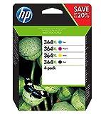 HP 364XL N9J74AE Cartucce Originali per Stampanti a Getto di Inchiostro Photosmart B210c, B110c, B110e, B8550, 7520, Deskjet 3520, 3522, 3524, Confezione da 4, Nero, Ciano, Giallo, Magenta
