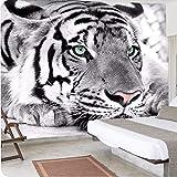 HONGYAUNZHANG Tier Schwarz Und Weiß Tiger Benutzerdefinierte Fototapete 3D Stereoskopische Wandbild Wohnzimmer Schlafzimmer Sofa Hintergrund Wandbilder,140Cm (H) X 220Cm (W)