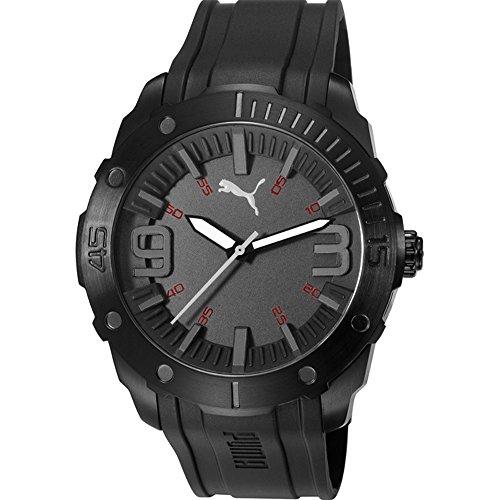 Puma PU103881001 para hombre de caja de acero inoxidable de color negro y correa de silicona de color gris y esfera de color negro reloj