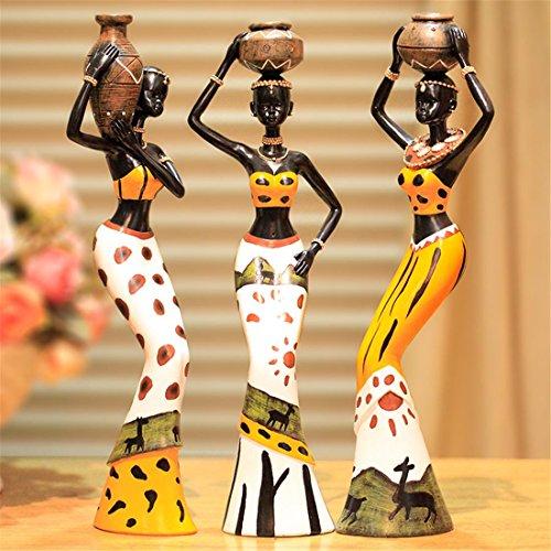 Moderno Resina Estatua Casa Decoración Arte África Nacional aduana Figuras Conjunto - Creativo Escultura Familia Escritorio Adornos Casa Vivo Habitación Cafetería Bar Decoración Niños Regalos , A