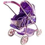 deAO Cochecito de Muñeca Bebé con Capazo Extraíble en Diseño Clásico – Color Lila y Rosa