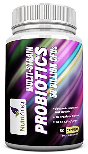 51hNeCgSIVL - Integratori Probiotici Multi-Strain NutriZing ~ 16 ceppi di batteri benefici ~ 50 miliardi di CFU ~ Formula unica multi-strain per sollievo da IBS ~ Tonifica il Sistema Immunitario ~ 100% Vegetariano, Senza Glutine e Caffeina ~ Realizzato negli UK ~ Efficace Trattamento contro Afte, Infezioni da Lievito, Reflusso Acido ~ Aiuta gli enzimi digestivi ~ Funziona meglio per migliorare l'intestino e depurare il Colon ~ Per la Salute Maschile e Femminile ~ Alta Potenza