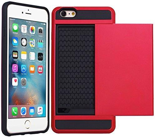 Apple iPhone 4S - Double Couche Slim Armure Hybrid Rigide Housse Étui avec Carte de crédit Carte Support + Gratuit Écran Protection Rouge