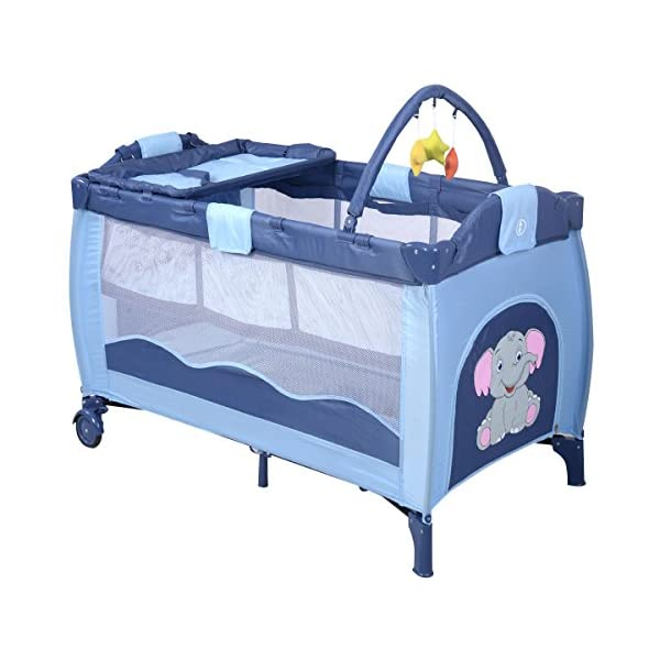 COSTWAY Portable Infant Baby Travel Cot, Bed Play Pen, Child Bassinet Playpen Entryway, with Mat 2 in 1 (Blue) Costway 【Excluded locations】Guernsey, JERSEY, Channel Islands, Isle of Man, Scilly Isles, Scottish Islands, PO BOX 【Folded Design】Due to its folding design, you can take it to anywhere as you like by packing it in the supplied carry bag, and it just takes you a while to fold or unfold it before using. 【See-through safety mesh】It features mesh cloth on both sides, this netted areas allow your baby to see out clearly as well as an onlooker to see in to her/him, and it also offers great ventilation for your baby. 2