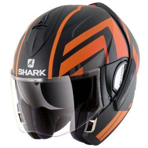 SHARK Motorradhelm Hark Evoline 3 Corvus Mat, Schwarz/Orange, Größe XL