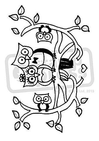 A7 'Famille de Hibou' tampon / timbre en caoutchouc (non monté) (SP00009266)