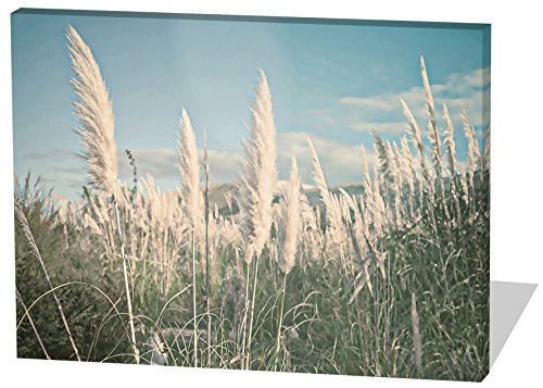 Auf dem Feld, Gemälde Effekt, schönes und hochwertiges Leinwandbild zum Aufhängen in XXL - 80cm x 60cm, echter Holzrahmen, effektiver Pigmentdruck, modernes Design für Ihr Büro oder Zimmer