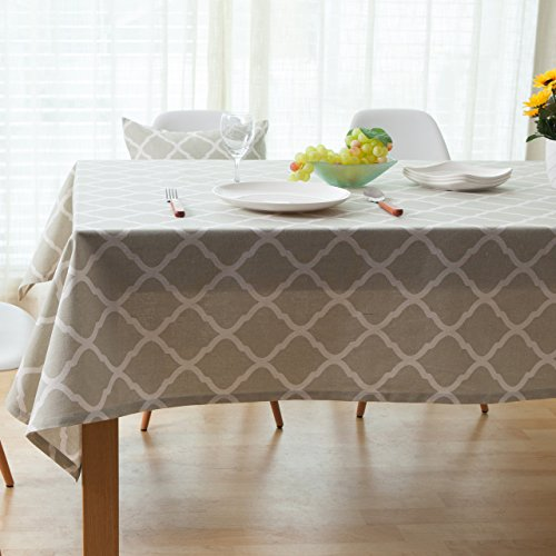 ColorBird Geometric Series Moroccan Pattern Cotton Linen Tablecloth for Dining Kitchen Living Decorative Tabletop Cover (Rectangle/Oblong, 55 x 95, Grey) by ColorBird