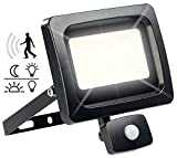 Luminea Baustrahler-Wandlampe: LED-Fluter mit PIR-Sensor, 30 Watt, 2.400 Lumen, warmweiß, IP44 (Wetterfeste Scheinwerfer, IP65)