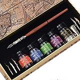 Hethrone Calligraphy Pen Set Glas-Dip-Pen Handgefertigte Geschenkschreibetasche mit Stifthalter und 5-Farben-Tinte