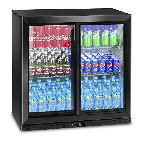 Royal Catering Flaschenkühlschrank Getränkekühlschrank mit Glastür RCGK-B208-2 (208 L, 340 W, 4 Einlagen, verschließbare Schiebetür, Temperaturbereich 4-8 °C) - Kühlschrank Mit 2 Schiebetüren