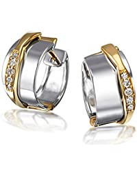 Goldmaid Damen-Creolen 585 Gelbgold und 925 Sterlingsilber 10 Diamanten Ohrringe Brillanten Schmuck