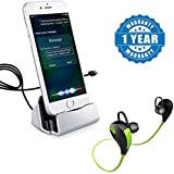 Captcha Charging and Sync With Lightning Cable Connector Dock for iPhone 5/5s/5se/6/6s/6s plus/7/7 plus & iPad & Bluetooth V4.1 Jogger Headset With Mic (Color may vary)